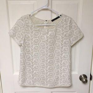 NWOT Zara Basic white lace tee size medium